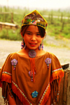 Brooks range, Alaska: Gates of the Arctic National Park and Preserve - Arctic village - a young Athabaskan girl with a traditional costume - photo by E.Petitalot