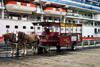 Alaska - Ketchikan: a cart awaits the passengers of the Diamond Princess - Seahorse ventures - horse drawn tours (photo by Robert Ziff)