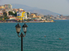 Sarandë, Vlorë County, Albania: street lamp and the waterfront - photo by J.Kaman