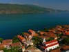 Lin, Pogradec, Kor�� county, Albania: church, red roofs and lake Ohrid - photo by J.Kaman