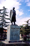Albania / Shqiperia - Kor�� / Kor�a / Korce: statue of Themistokli Germenji - Albanian politician and author - photo by M.Torres