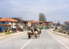Albania / Shqiperia - Bilisht, Korçë county: life in the fast lane - cart in the middle of the road - photo by M.Torres