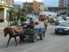 Kruje, Durres County, Albania: albanian transport and traffic - horse cart in the city - photo by J.Kaman