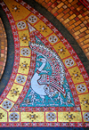 Oran, Algeria / Algérie: Cathedral of the Sacred Heart of Jesus Christ - peacock - tiles over the entrance - photo by M.Torres |  Cathédrale du Sacré Coeur de Jesus - paon - carreaux sur l'entrée