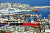 Algiers / Alger - Algeria: the port - fuel depot / tank farm, SNCM's Danielle Casanova ferry and the waterfront - panorama | d�p�t p�trolier, ferry Danielle Casanova de la Soci�t� Nationale Maritime Corse Mediterranee (SNCM) et Front de Mer - vue panoramique - photo by M.Torres