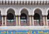 Algiers / Alger - Algeria: balcony of the Central Post Office - Grande Poste - colonial Moorish style | la Grande Poste - galerie � colonnes jumel�es - style colonial n�o-mauresque - photo by M.Torres