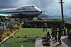 Pago Pago, American Samoa: dancers and Pan-Am Boeing 747 at the airport - photo by G.Frysinger