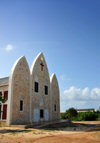 The Valley, Anguilla: the new St. Gerard's Roman Catholic Church, with a façade like 3 boats, mimics the old church - Carter Ray Boulevard - photo by M.Torres