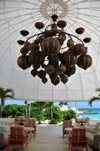 Maundays Bay, West End Village, Anguilla: waterfront terrace with large Moorish chandelier - Cap Juluca hotel - photo by M.Torres