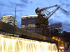 Argentina - Buenos Aires - Puerto Madero crane and cascade of light - images of South America by M.Bergsma