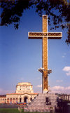 Armenia - Yerevan: cross and National art gallery in Republic Square - photo by M.Torres