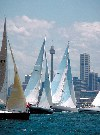 Australia - Yachts position themselves for the start of the annual Sydney-Hobert race. (photo by Rod Eime)