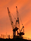Australia - Melbourne (Victoria): docklands - cranes at sunset - photo by Luca Dal Bo