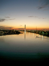 Australia - Melbourne (Victoria): Sunset on the Yarra River - Bolte Bridge II - photo by Luca Dal Bo