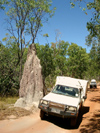 Australia - Overlander Telegraph Track (Queensland): Termite mound and 4WD - photo by Luca Dal Bo