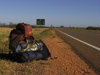 583 Western Australia - Road #1 from Carnarvon: backpack - photo by M.Samper)