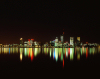 Western Australia - Perth - nocturnal skyline - reflection - photo by S.Lovegrove
