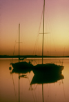 Australia - Goolwa, South Australia: two boat silhouette, sunrise - photo by G.Scheer