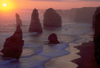 Great Ocean Road, Victoria, Australia: 12 Apostles at Sunset - limestone stacks - Port Campbell National Park - photo by G.Scheer