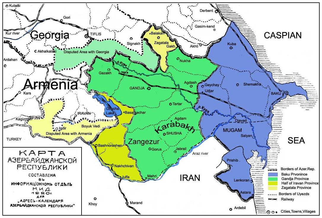 Map Of Azerbaijan Map Also Includes Parts Of Surrounding - Azerbaijan maps with countries