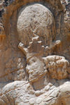 Iran - Naqsh-e Rustam: triumph relief of Shapur I - the king's face - photo by M.Torres