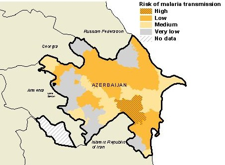 Map of malaria risk in Azerbaijan, compiled by the World Health Organization