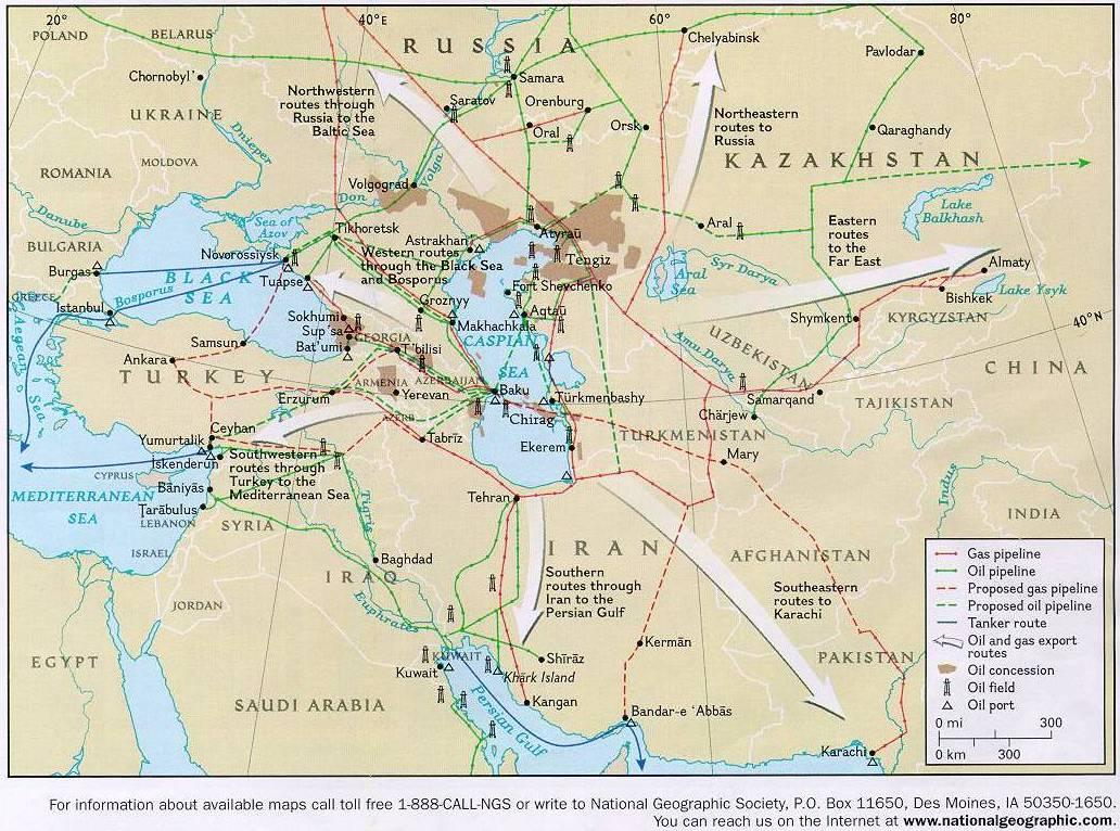 Réseaux pétroliers dans la région du moyen orient et de l'europe orientale
