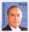 Azeri postal stamp: Heydar Aliyev on a 0,6 manat stamp - Aliyev family cult is everywhere... - stamps of Azerbaijan