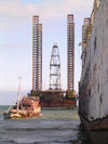 Baku, Azerbaijan: a modern drilling platform to be located in the Caspian sea - photo by G.Monssen