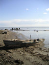 Azerbaijan - Narimanabad - near Port Ilyich - Lankaran Rayonu: derelict boat on Caspian sea shore (photo by A.Kilroy)