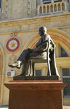 Azerbaijan - Baku: statue of an academic and his chair, Yusif Mammadaliyev - Academy of Sciences - photo by M.Torres