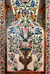 Sheki / Shaki - Azerbaijan: Sheki Khans' palace - flower vase with birds - fresco - Khansarai - photo by N.Mahmudova