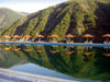 Azerbaijan - Ilisu - 'Ulu Dag' hotel - pool and mountains - photo by F.MacLachlan