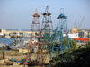 Azerbaijan - Baku: oil derricks and the military harbour - photo by N.Mahmudova