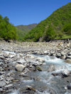 Qabala rayon, Azerbaijan: mountain river on the way to Durja - F.MacLachlan
