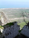 Siyazan rayon, Azerbaijan: Besh Barmak / Bashbarmag - the Five Finger mountain - view towards the Caspian sea - photo by G.Monssen