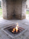 Surakhany - Absheron peninsula, Azerbaijan: Ateshgah fire temple - the flame - the fire was once fed by a natural gas vent, now piped in - photo by G.Monssen