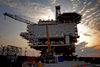 Caspian sea: sunset - Deep Water Guneshli Platform - Azeri-Chirag-Guneshli (ACG) oil field - photo by J.Fitzpatrick