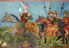 Sheki / Shaki - Azerbaijan: Sheki Khans' palace - fresco - battle seen - the Khan leads his army - severed head on the ground - Khansarai - photo by N.Mahmudova