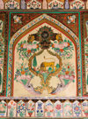 Sheki / Shaki - Azerbaijan: Sheki Khans' palace - lion and flowers - fresco - Khansarai - photo by N.Mahmudova