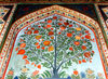 Sheki / Shaki - Azerbaijan: Sheki Khans' palace - pomegranate tree - fresco at the Khansarai - photo by N.Mahmudova