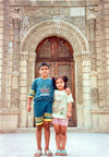 Azerbaijan . Baku: kids at the Djuma Mosque (photo by M.Torres)