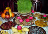 Baku, Azerbaijan: a traditional Novruz table, with sprouting wheat, at the center - photo by N.Mahmudova