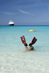 35 Bahamas - Half Moon Cay - swimmer with water fins at Half Moon Cay, Bahamas, beach with Holland America cruise ship ms Veendam in background (photo by David Smith)