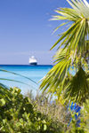 38 Bahamas - Half Moon Cay - Cruise ship in backgound with beach palm trees in foreground (photo by David Smith)