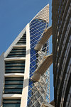 Manama, Bahrain: Bahrain World Trade Center - BWTC - the first skyscrapers to integrate wind turbines - other energy conscious elements are solar-powered external lighting, low-energy fluorescent lighting and thermal insulation for opaque fabric elements  - King Faisal Highway - photo by M.Torres