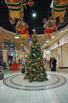Bahrain - Al Muharraq island:  Christmas tree and flying reindeer - Bahrain International Airport - photo by W.Allgower
