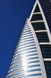 Manama, Bahrain: Bahrain World Trade Center - BWTC - detail of sail shapes on the fa�ade - photo by M.Torres