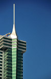 Manama, Bahrain: Bahrain Financial Harbour towers - BFH - Commercial East tower - detail of top and spire - photo by M.Torres