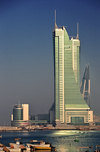 Manama, Bahrain: Bahrain Financial Harbour towers commercial complex - BFH - view from the fishing harbour - Bahrain WTC on the right and Harbour House on the left - photo by M.Torres